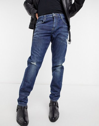 Jeans Blu uomo Jeans slim stretch da 12,5 oz blu scuro con abrasioni - ASOS DESIGN