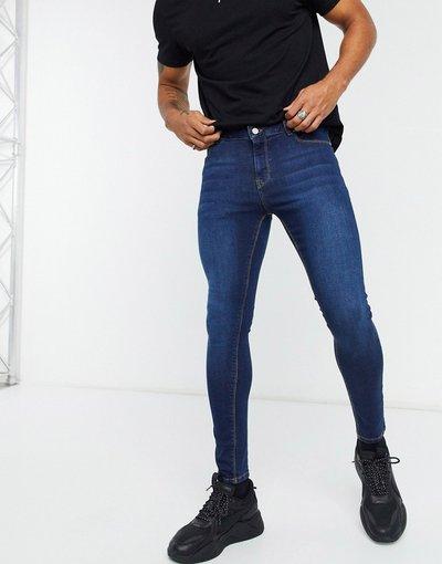 Jeans Blu uomo Jeans spray on power stretch lavaggio blu scuro - ASOS DESIGN
