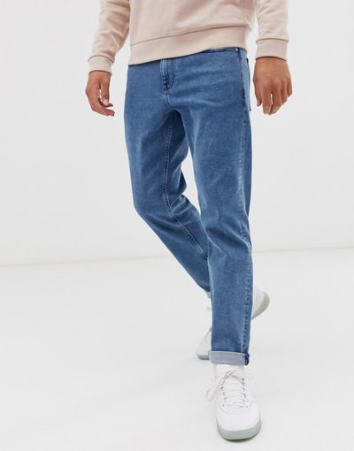 Jeans Blu uomo Jeans stretch affusolati lavaggio blu medio rétro - ASOS DESIGN