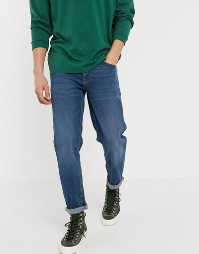 Jeans Blu uomo Jeans stretch affusolati lavaggio blu scuro - ASOS DESIGN