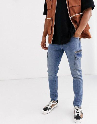 Jeans Blu uomo Jeans stretch slim con tasche cargo lavaggio blu scuro - ASOS DESIGN