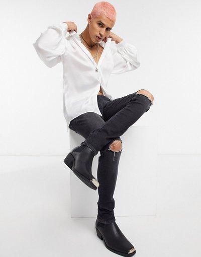 Jeans Nero uomo Jeans super skinny 12,5 oz nero slavato con strappi sulle ginocchia - ASOS DESIGN