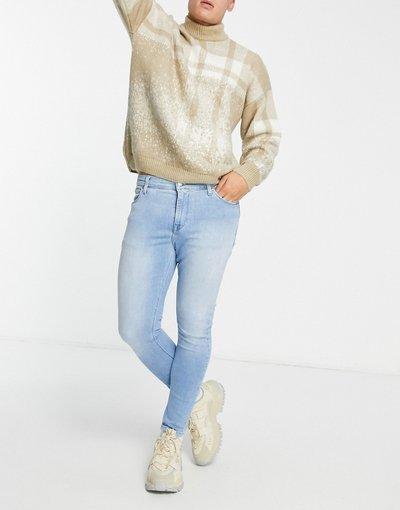 Jeans Blu uomo Jeans super skinny alla caviglia blu chiaro slavato - ASOS DESIGN