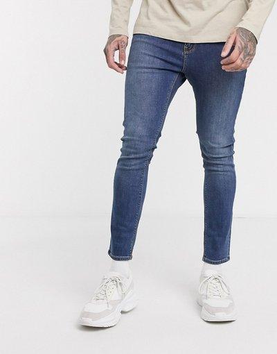Jeans Blu uomo Jeans super skinny corti lavaggio blu medio - ASOS DESIGN