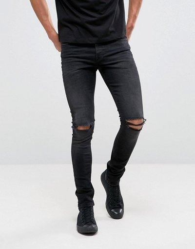 Jeans Nero uomo Jeans super skinny da 12,5 once nero délavé con ginocchia strappate - ASOS DESIGN