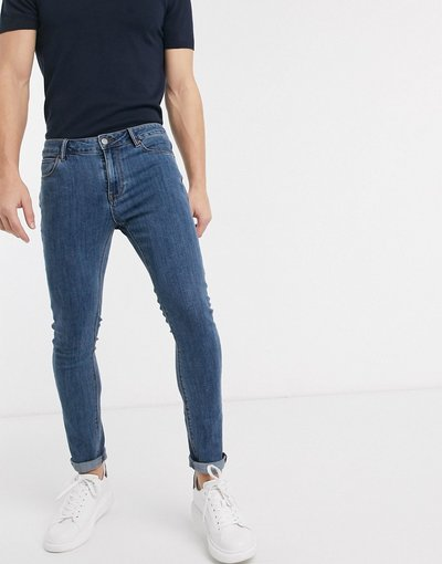 Jeans Blu uomo Jeans super skinny rétro lavaggio medio - ASOS DESIGN - Blu