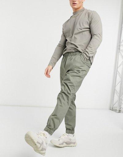 Pantalone Verde uomo Joggers chino affusolati con vita elasticizzata kaki - ASOS DESIGN - Verde
