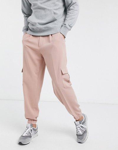 Rosa uomo Joggers eleganti oversize affusolati con tasche cargo rosa - ASOS DESIGN