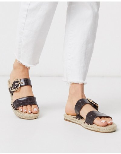 Sandali Marrone donna Sabot stile espadrilles marrone coccodrillo - ASOS DESIGN - Judgement