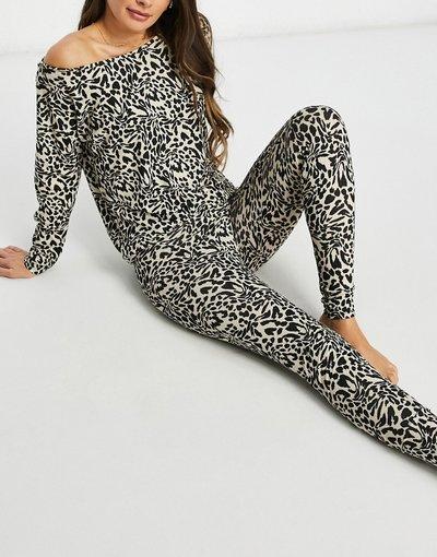 Pigiami Multicolore donna Leggings del pigiama mix and match con stampa leopardata multicolore - ASOS DESIGN