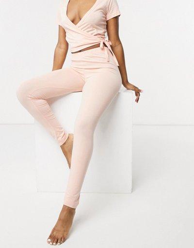 Pigiami Rosa donna Leggings del pigiama Mix&Match in jersey color pesca - ASOS DESIGN - Rosa