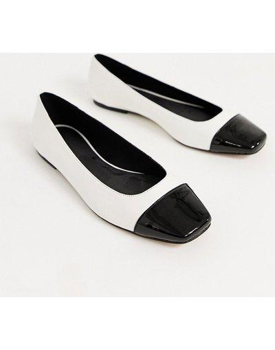 Scarpa bassa Bianco donna Ballerine con punta nere e bianche - ASOS DESIGN - Limbo - Bianco
