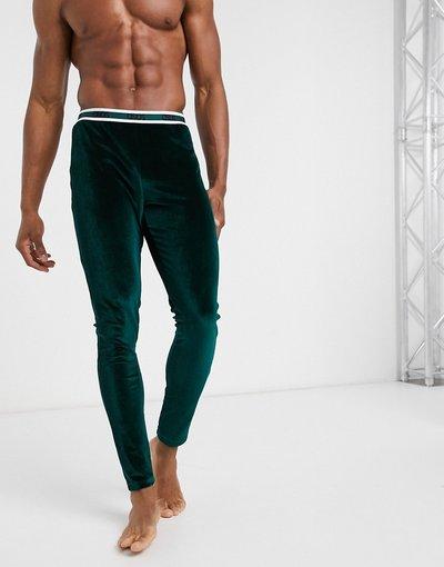 Pigiami Verde uomo Meggings del pigiama in velour verdi con logo in vita - ASOS DESIGN Lounge - Verde