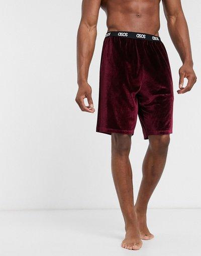 Pigiami Rosso uomo Pantaloncini del pigiama in velour bordeaux con logo in vita - ASOS DESIGN Lounge - Rosso