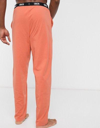 Pigiami Arancione uomo Pantaloni del pigiama arancioni con logo in vita - ASOS DESIGN Lounge - Arancione