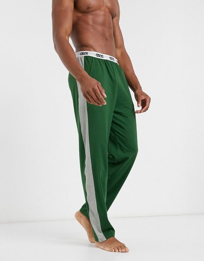 Pigiami Verde uomo Pantaloni del pigiama kaki con sezioni laterali grigio mélange - ASOS DESIGN Lounge - Verde