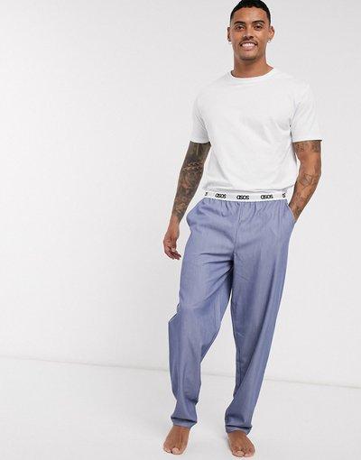Pigiami Multicolore uomo shirt e pantaloni azzurri con elastico con logo in vita - ASOS DESIGN Lounge - Multicolore - Set T