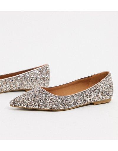 Scarpa bassa Oro donna Ballerine a punta con glitter oro rosa - ASOS DESIGN - Lucky