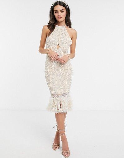 Beige donna Vestito midi accollato beige con perle decorative e piume sul fondo - ASOS DESIGN Luxe