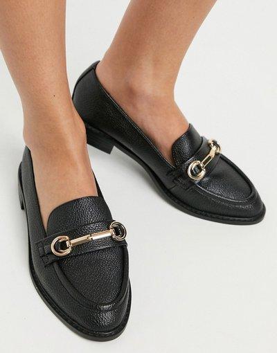 Scarpa bassa Nero donna Mocassini neri con morsetto - ASOS DESIGN - Mabel - Nero