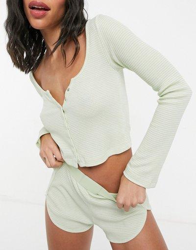 Pigiami Multicolore donna Maglia serafino del pigiama Mix&Match a maniche lunghe lime slavato - ASOS DESIGN - Multicolore