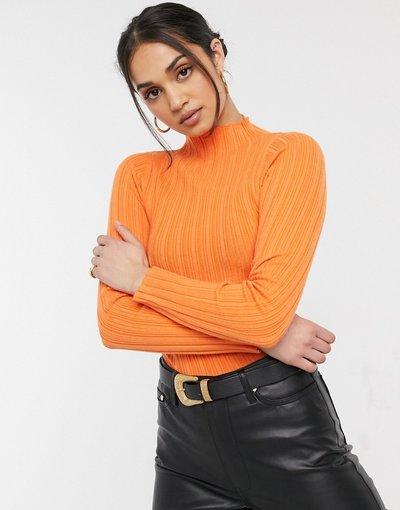 Arancione donna Maglione a coste con collo alto arancione - ASOS DESIGN