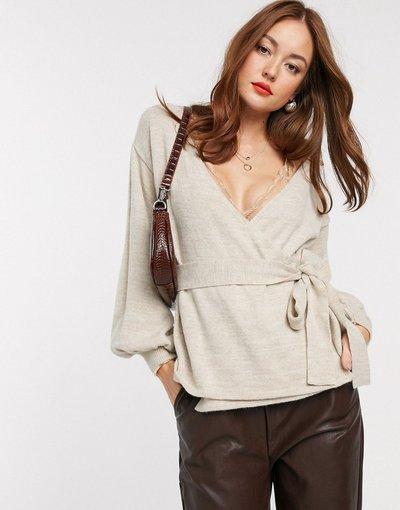 Pietra donna Maglione a portafoglio con maniche voluminose - ASOS DESIGN - Pietra
