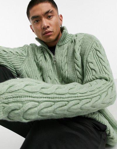 Verde uomo Maglione a trecce spesse con zip corta kaki - ASOS DESIGN - Verde
