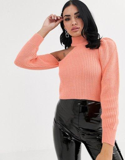 Arancione donna Maglione accollato monospalla con cut - ASOS DESIGN - Arancione - out