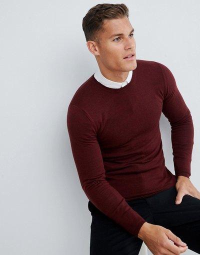 Rosso uomo Maglione attillato bordeaux in lana merino - ASOS DESIGN - Rosso