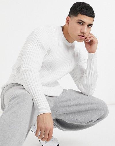 Bianco uomo Maglione bianco attillato a coste - ASOS DESIGN