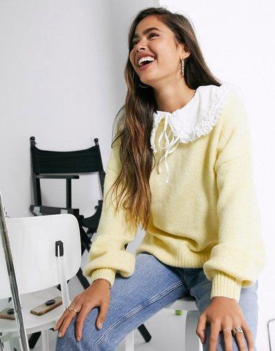 Giallo donna Maglione con colletto rimovibile giallo - ASOS DESIGN