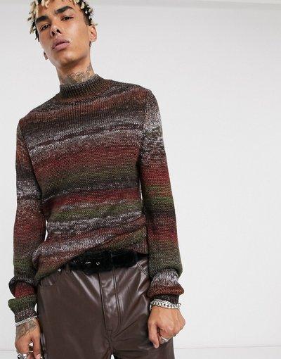 Multicolore uomo Maglione con collo alto in filato mélange - ASOS DESIGN - Multicolore