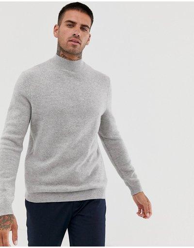 Grigio uomo Maglione con collo alto in lana d'agnello grigio chiaro - ASOS DESIGN