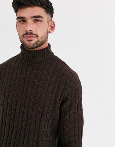 Marrone uomo Maglione con collo alto lavorato a trecce in lana d'agnello marrone - ASOS DESIGN
