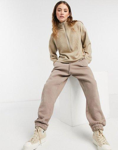 Maglione alla moda Grigio pietra donna Maglione con maniche ampie e zip color pietra - Grigio pietra - ASOS DESIGN
