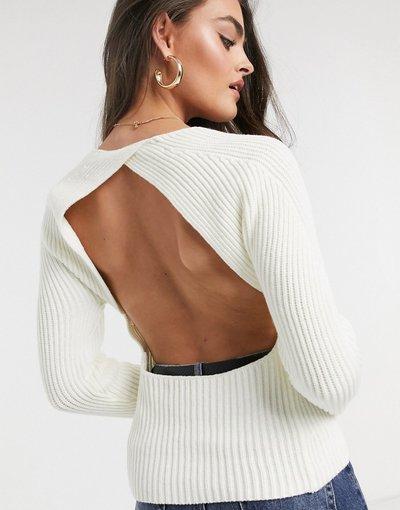 Nero donna Maglione con schiena scoperta crema - ASOS DESIGN - Nero