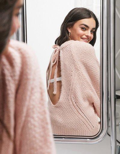 Rosa donna Maglione con schiena scoperta rosa chiaro - ASOS DESIGN