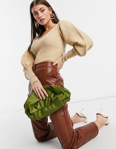 Cuoio donna Maglione con scollo a V e maniche molto ampie color caramello - ASOS DESIGN - Cuoio