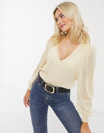 Crema donna Maglione con scollo a V e maniche molto ampie color crema - ASOS DESIGN