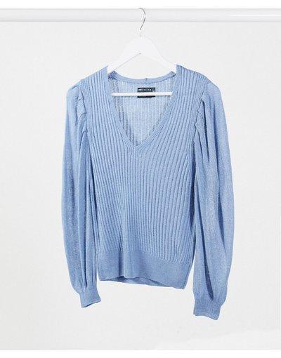 Blu donna Maglione con scollo a V e maniche voluminose blu - ASOS DESIGN