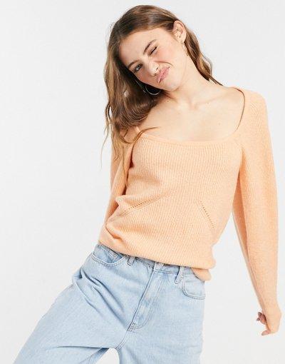 Arancione donna Maglione con scollo quadrato e maniche voluminose - ASOS DESIGN - Arancione