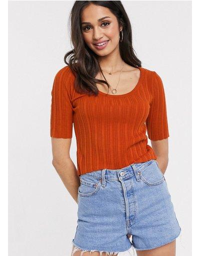 Arancione donna Maglione con scollo rotondo a maniche corte arancione - ASOS DESIGN