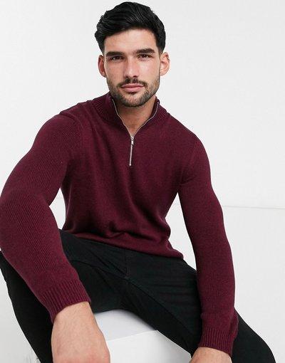 Rosso uomo Maglione con zip corta in cotone di media pesantezza bordeaux mélange - ASOS DESIGN - Rosso