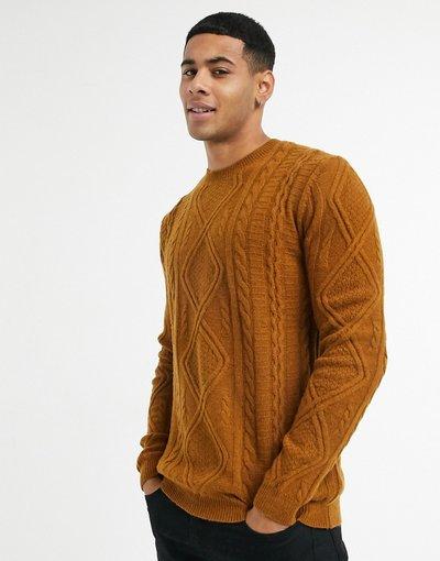Marrone uomo Maglione girocollo a trecce in lana d'agnello color tabacco - ASOS DESIGN - Marrone