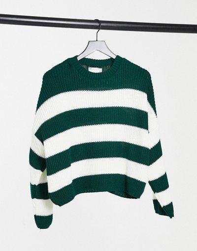 Maglione a girocollo Verde donna Maglione girocollo squadrato multi righe verde - ASOS DESIGN