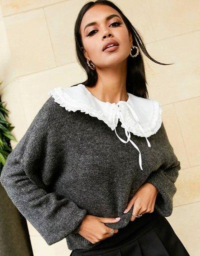 Grigio donna Maglione grigio con colletto rimovibile - ASOS DESIGN