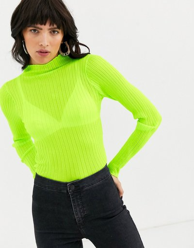 Verde donna Maglione lavorato accollato trasparente - ASOS DESIGN - Verde