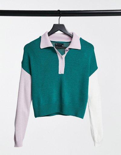 Verde donna Maglione lavorato in stile rugby color block - ASOS DESIGN - Verde