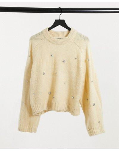Giallo donna Maglione morbido giallo pallido con strass - ASOS DESIGN